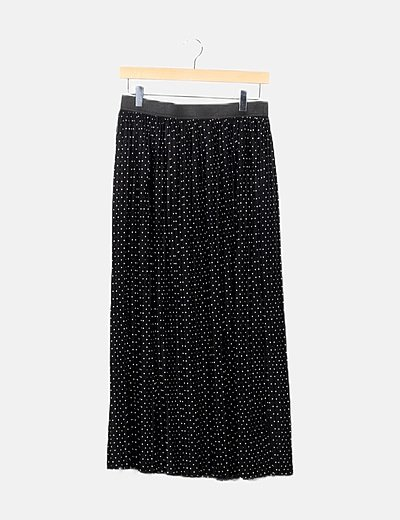 Falda plisada negro motas