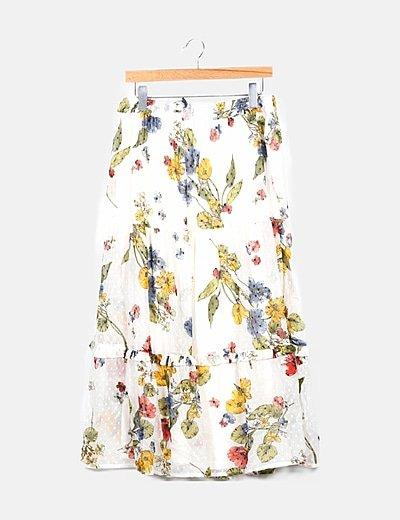 Falda plumeti blanco floral
