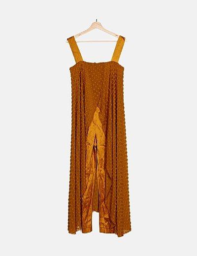 Vestido midi mostaza doble capa