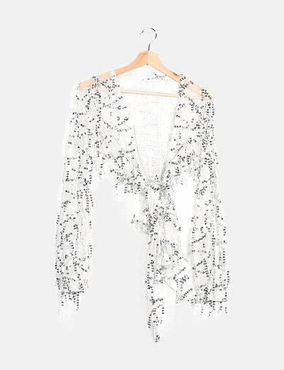Kimono tul blanco detalle paillettes