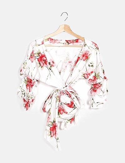 Kimono blanco estampado flores