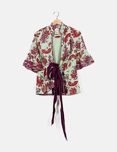 Kimono verde estampada