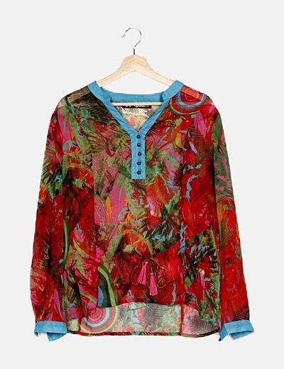 Blusa fluida multicolor detalle print lace up