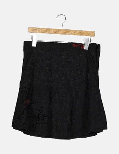 Falda mini evasé negro estampado