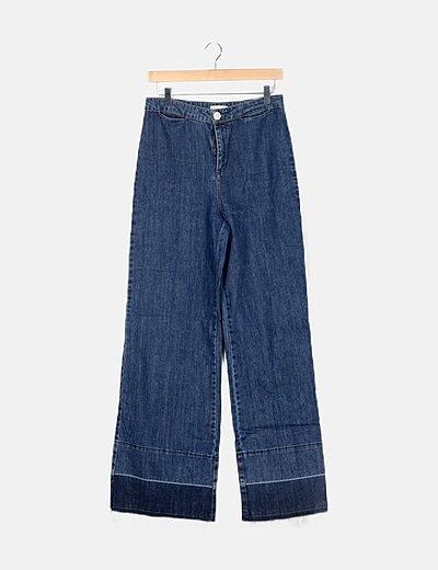 Jeans denim wide leg desflecado