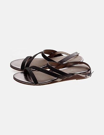Sandalia gris strass