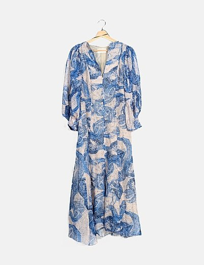 Vestido maxi azul estampado