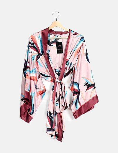 Kimono satén estampado multicolor