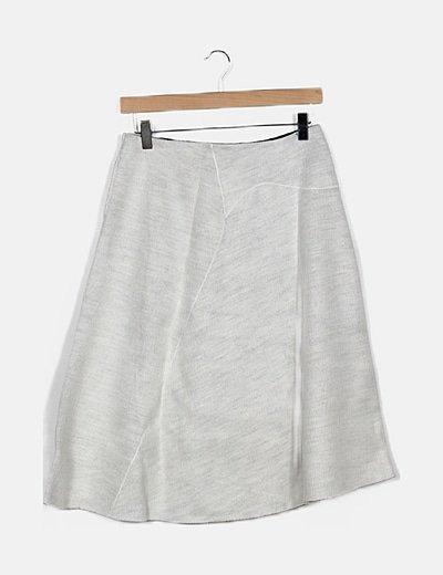 Falda mini gris evase