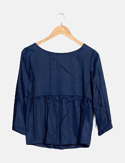 Blusa azul marina satinada
