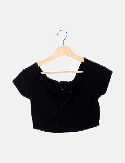 Crop top lace up negro