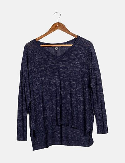 Jersey tricot azul jaspeado