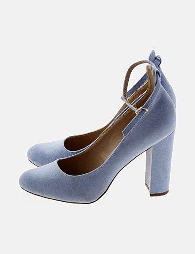 Zapato azul cierre tobillo