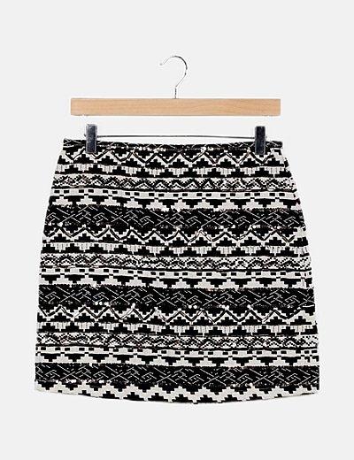 Falda tricot blanca y negra