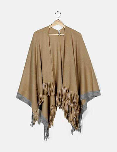 Cardigan tricot beige con flecos