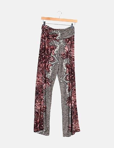 Pantalón tricolor estampado combinado