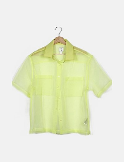 Traje amarillo flúor semitransparente