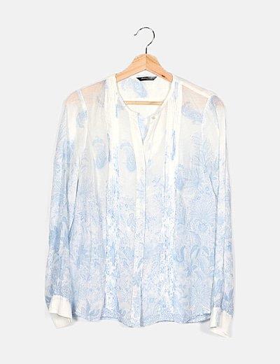 Camisa blanca detalles azules