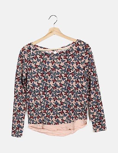 Camiseta rosa estampado mariposas