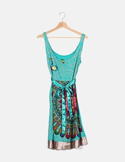 Vestido turquesa estampado combinado