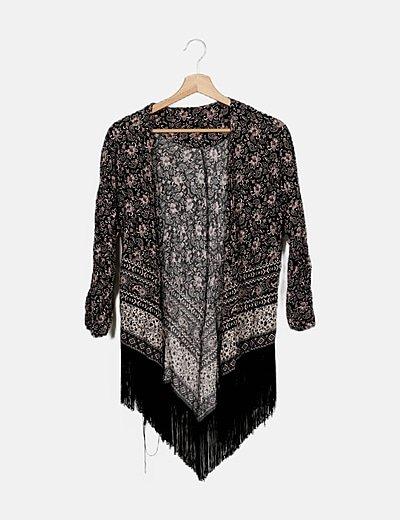 Kimono negro estampado étnico
