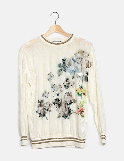 Top bordado floral