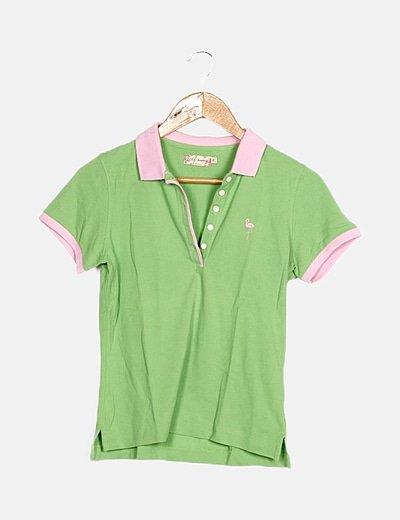 Polo verde y rosa manga corta
