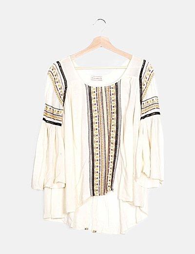 Blusa beige bordado multicolor