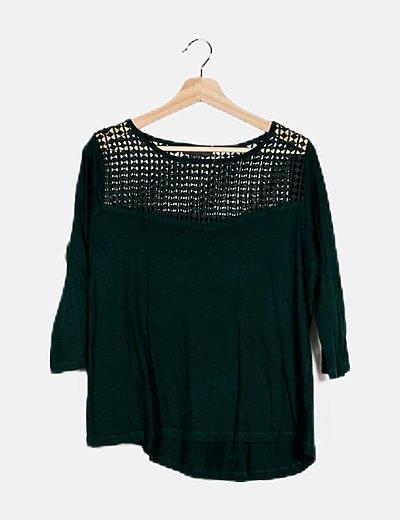 Camiseta verde botella combinada