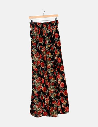 Pantalón floral fluido semitransparente