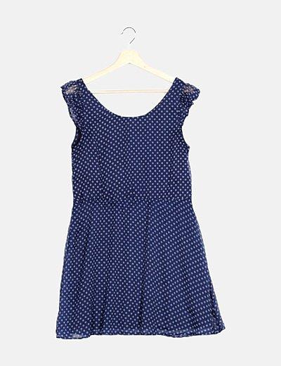 Vestido de gasa azul marino floral
