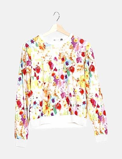 Sudadera blanca floral