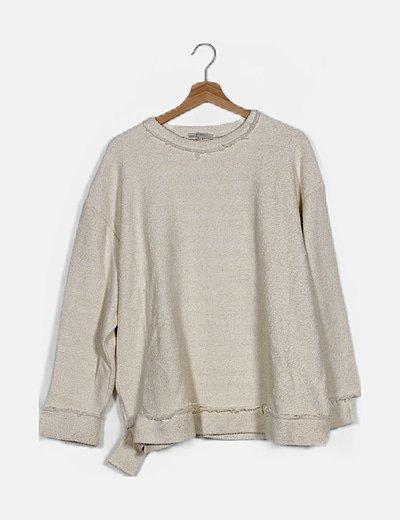 Sudadera tweed crema