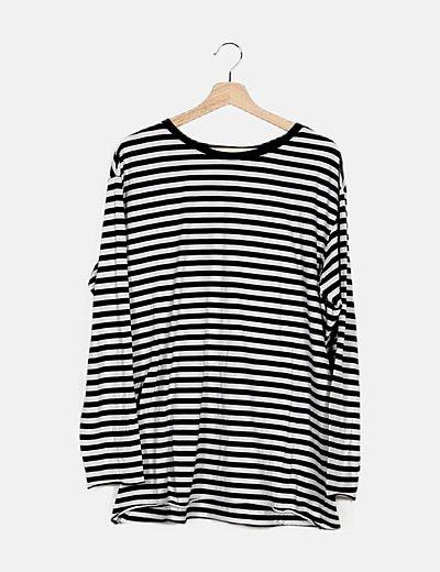 Camiseta manga larga rayas bicolor