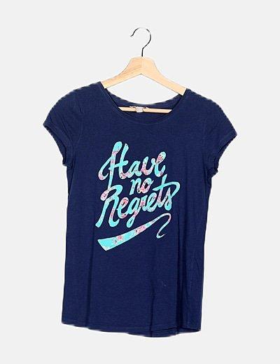 Camiseta azul estampado rayas