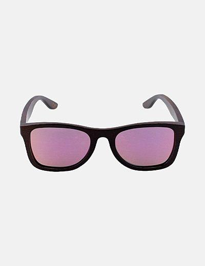 Gafas montura madera lentes rosas