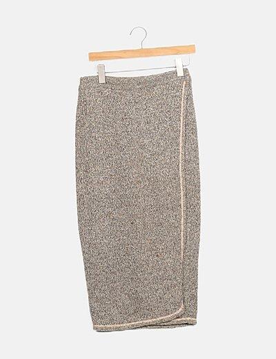 Falda tricot marrón jaspeada