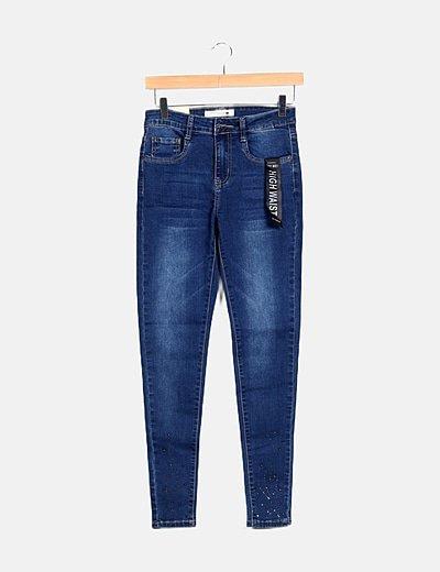 Jeans denim skinny detalle paillette