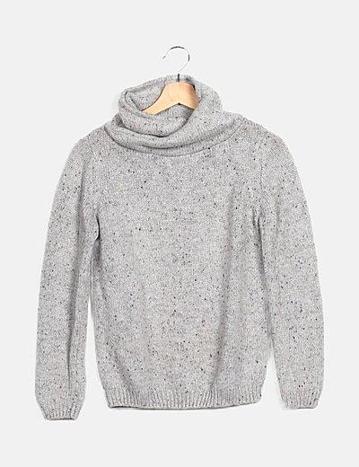 Jersey tricot gris cuello alto