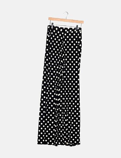 Pantalón negro motas tiro alto