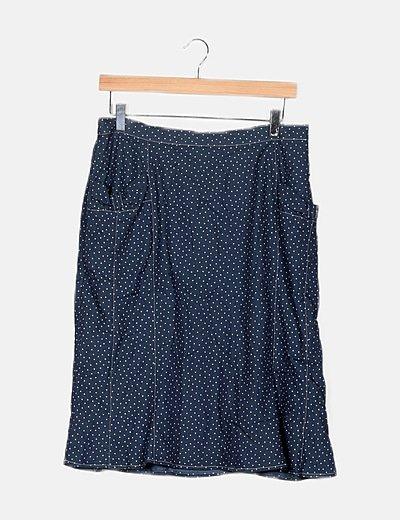 Minifalda fluida azul motas