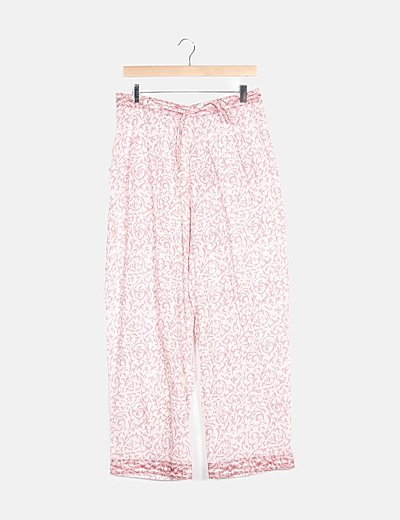 Pantalón rosa estampado floral