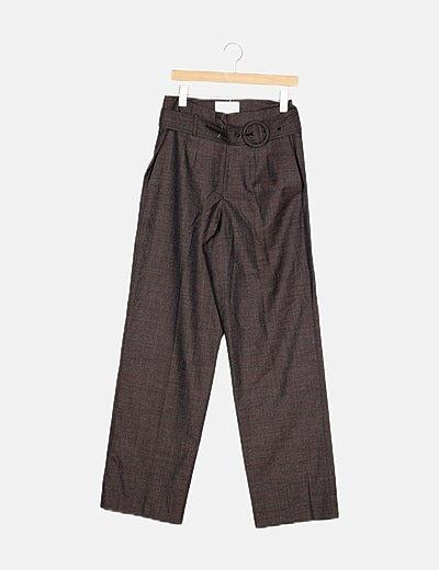 Pantalón tricot marrón cuadros