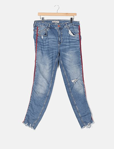 Jeans denim detalle banda lateral