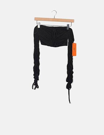 Crop top drapeado negro