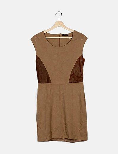 Vestido marrón combinado