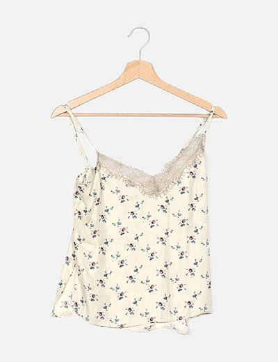 Top beige estampado floral