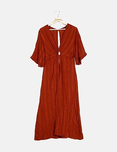 Vestido tricot cobre rayas