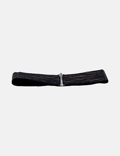 Cinturón negro elástico detalle encaje