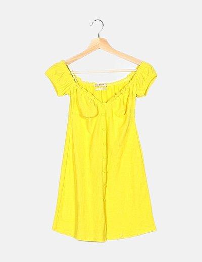 Vestido amarillo detalle fruncido